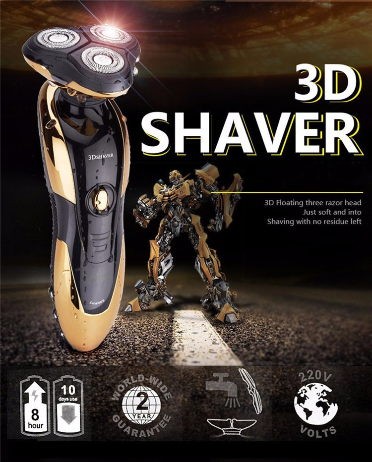 3 Blades Good Quality Electric Shaver waterproof razor for man powerful shaver with foam face hair removal