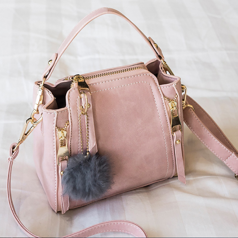 2018 fashion women frosted leather tote bag versatile hot-selling pompom bucket bags elegant classic bags wholesale Alibaba