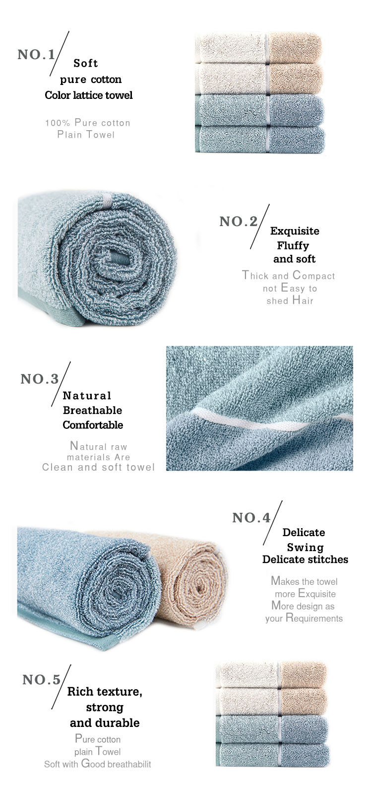 China factory korean game blue 100% cotton solid color hotel home bath towel