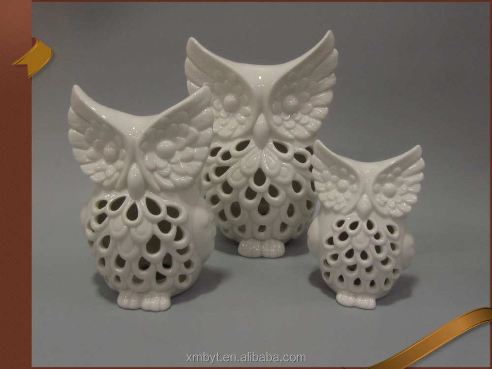 Ceramic glazed white owl candle holder home ornaments
