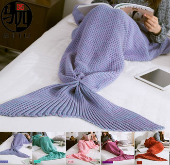 Warm and Soft All Seasons Handmade Knitted Cashmere Mermaid Blanket Sofa Quilt Living Room Blanket