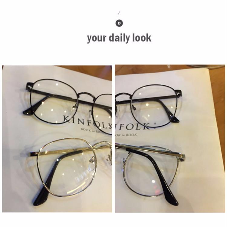 4f3d82f36bf29 Senhoras óculos Retro Artes e Ofícios Grande Redonda de Metal Fina Plana  Espelho homens e mulheres