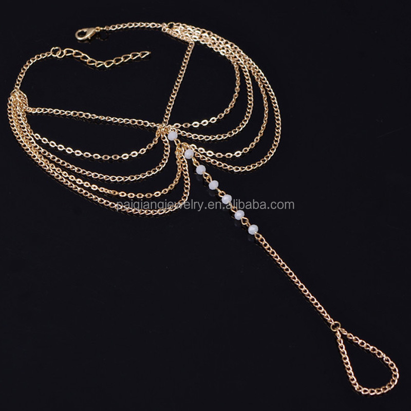 Wholesale fashion gold chains tassel white bead gypsy salve anklet