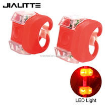 Jialitte B042 with 2xCR2032 Battery 3 Mode Silicone Safety Bike Light Red LED Taillight