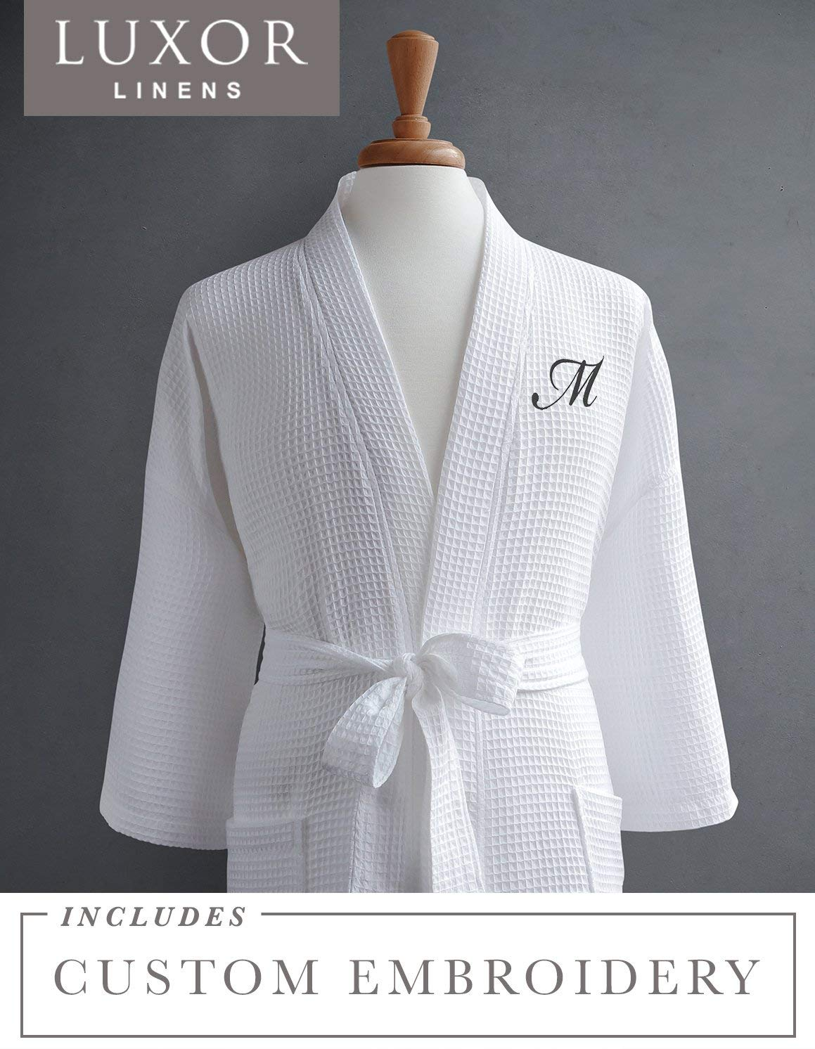 1b4eb0029f Get Quotations · Luxor Linens Waffle Robe - 100% Egyptian Cotton - Unisex One  Size Fits Most