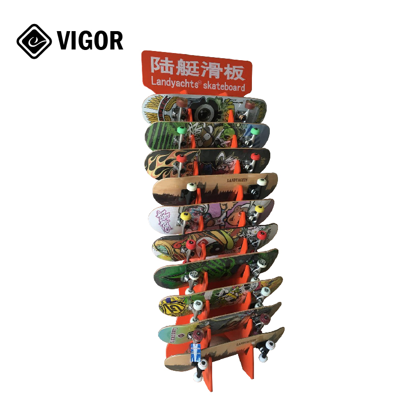 Wooden Customized Exhibition Fair Teade <strong>Show</strong> Floor Standing Display Rack For Skateboard Longboard