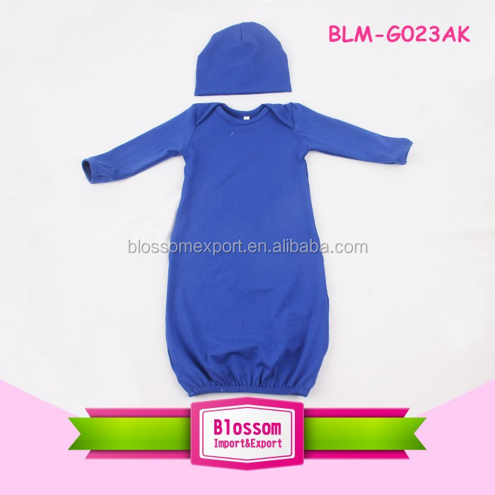 In Stock Royal Blue Long Sleeves Lap Shoulder Jumper Baby Romper Baby Clothes Blank Dress Romper Wholesale Unisex Solid Gowns