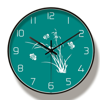 Simple and fresh green living room metal wall clock
