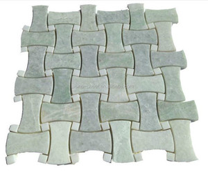 Ming Green Basket Weave Curved Pattern Marble Mosaic 12x12 Sheet