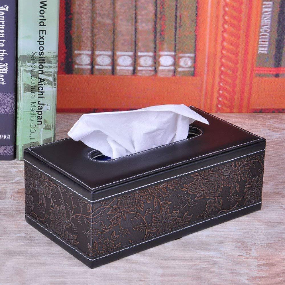 DHG Leather tissue box, European creative Book box, napkin box, coffee table living room family car with simple Book box