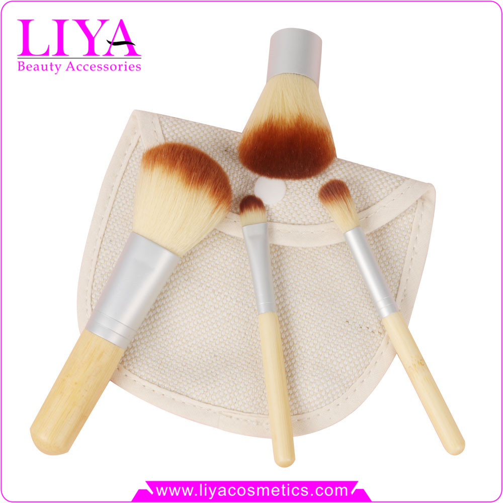 Natural bamboo handle small 4 pcs makeup brush sets