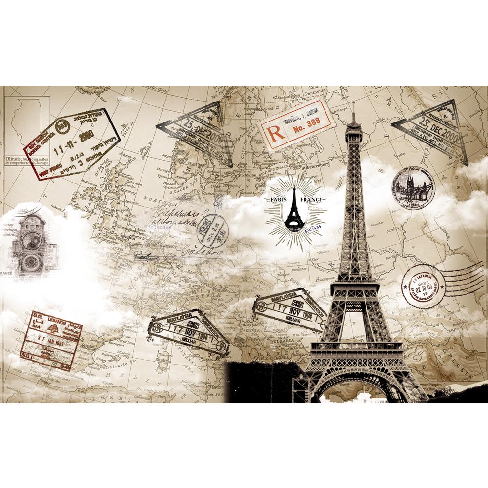 Par s torre eiffel dise o de todo el mundo mapa de seda papel pintado murales fondos y - El mundo del papel pintado coruna ...