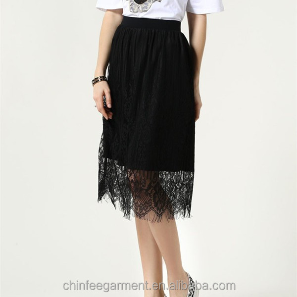 Sexy Ladies Black Lace Skirts With Elastic Waistband