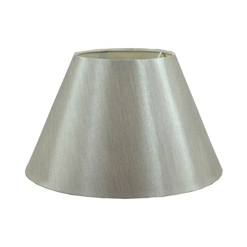 Silver classical small faux silk fabric PVC drum lampshade for desk lamp