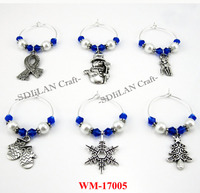 WM-17005 Set Of 6 Wine Glass Accessories Blue Winter Charms Christmas Wine Charm With Ribbon Charm For Drink Markers