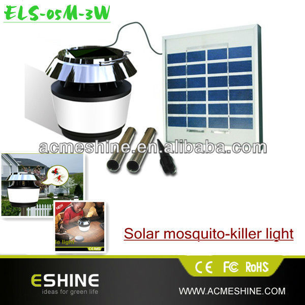 Mosquito killing solar garden lighting pole light,ultra bright led solar garden light with 8 led 4400mah battery