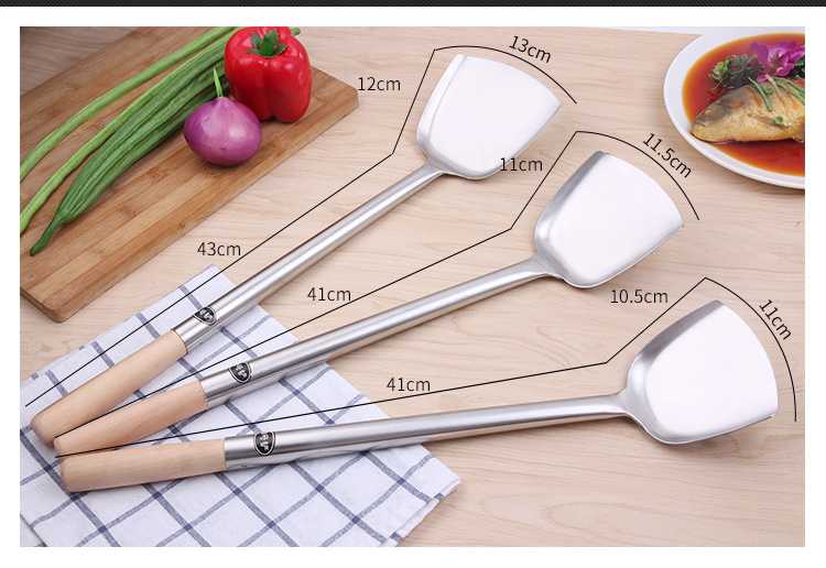 Hotel Restaurant Stainless Steel Shovel Spatula With Wooden Handle