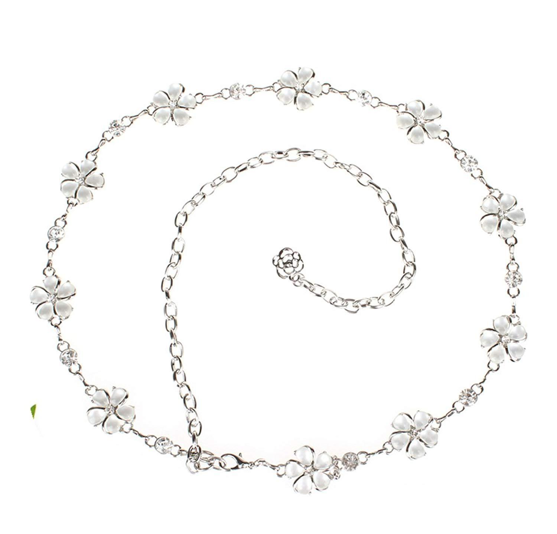 e3c03a38a2aa7 Get Quotations · Women's Metal Chain Belt Amiveil Flower Gold Silver Belts