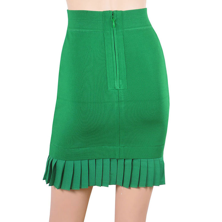 3375cf33a7 MOLI High Quality Pleated Ruffle Back Zipper Green Bandage Skirt For Woman