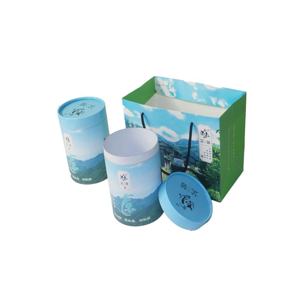 Blue tea bubble coffee raw tea leaf sets packaging round box