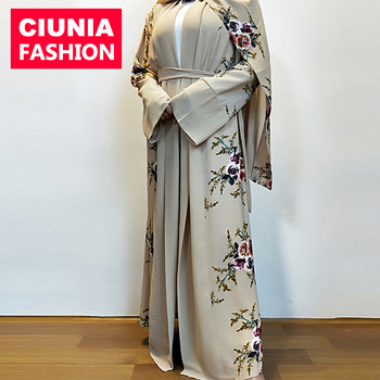 CM02# Floral Design Bubble Chiffon Butterfly Long Sleeve Soft Fabric New Model Dubai Abaya For Women Wholesale 2019
