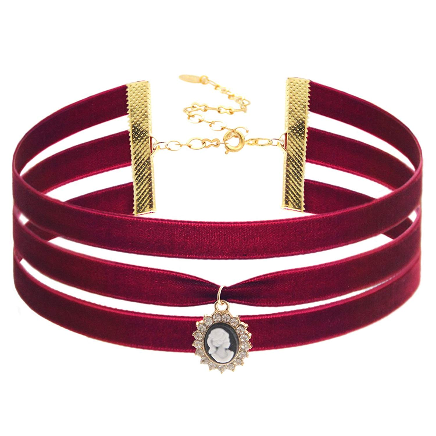 """Choker Necklace Three Strand Maroon Velvet Cameo Choker <br> 18K Gold Plated Closure.Length: 11"""" with 4"""" extender. Width: 30mm. Pendant Size: 15x20 mm."""