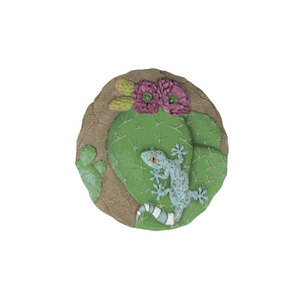 Vivid blue gecko and green cactus resin Animal Stepping Stone
