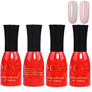 Tint 4PCS OV Red Bottle Soak-off UV Gel Set Top Coat+Base Gel+2 UV Color Builder Gel(No.47-48,15ml)