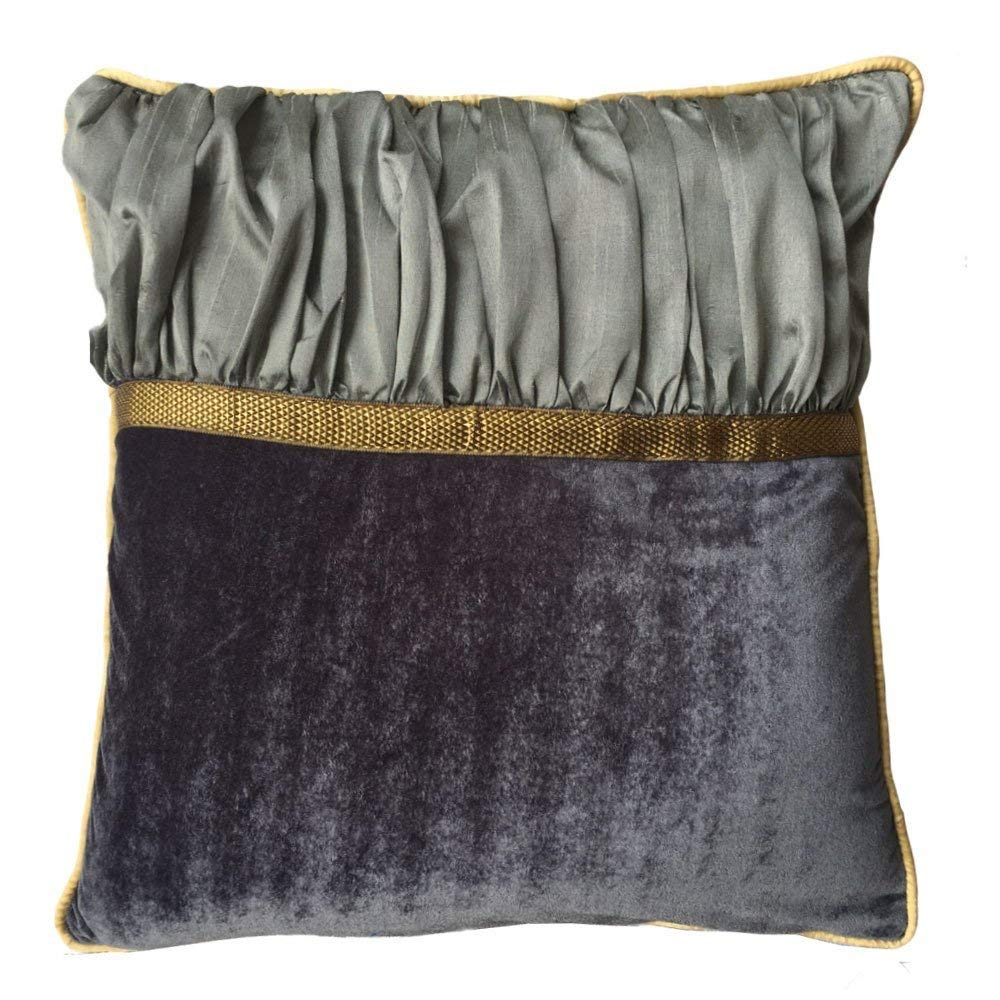 Decorative Square Luxuries Velvet Silk Piping Pillow cover with Metallic Grey Velvet Grey Color Dupioni & Yellow Piping pillow cover