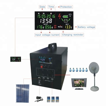 Indoor portable 60W solar power generator system for fan & lighting with USB charger