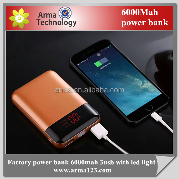 New Arrival 6000mAh digital display portable power bank with LED from factory