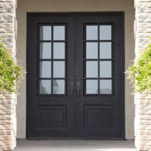 SZ-020 Dark Bronze Wrought Iron Arched Top Double Front Door