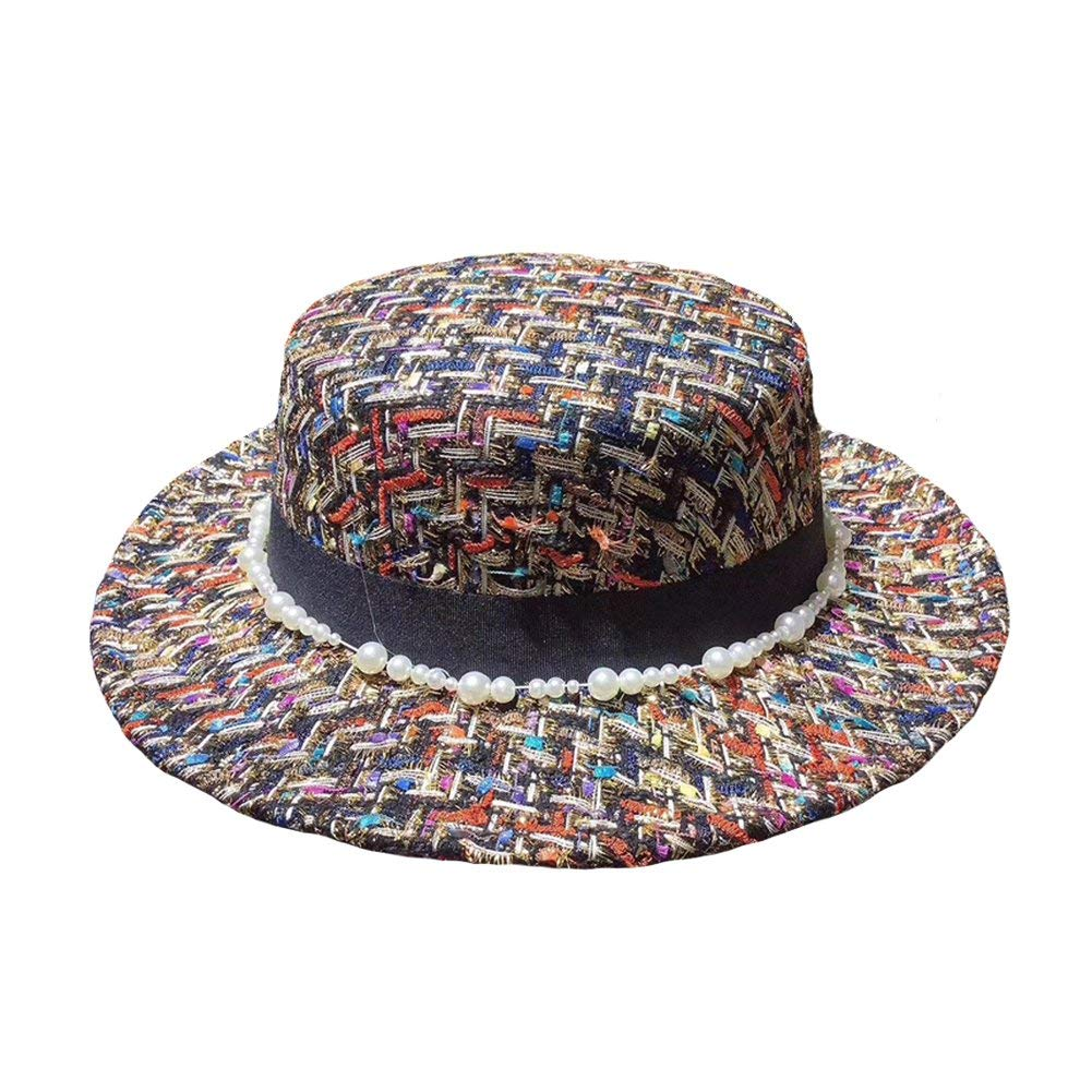 77b0f99f884 Get Quotations · Women Retro Jazz Hat Ladies Fashion Tweed Print Artificial  Pearl Felt Hat Urchart