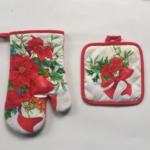 oem promotional logo printed oven glove set