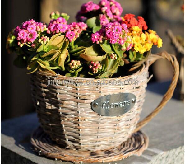 Handmade Plastic Lined Antique Wicker Tea Cup Flower Plant