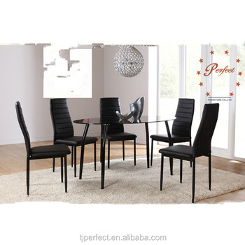 Modern Ovalshape Black Top Glass Dining Table With Leather Chairs - Oval glass dining room table sets