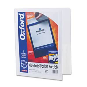 """Esselte Pendaflex Corporation Products - Oxford Poly Viewfolio Portfolio, 9-1/2""""x11-5/8"""", White - Sold as 1 EA - Presentation folder features framed portfolio cover with back-loading, bordered display window for easy customizing. Slotted to hold business cards. Poly material is wear-resistant,"""