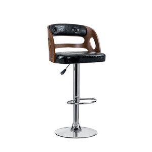 Modern Luxury Durable Wooden Leather Swivel Height Bar stool Bar Furniture For Home And Bar