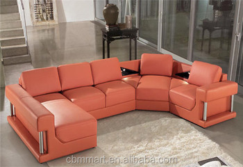 French Design Orange Leather Sofa Set/ Fancy Sofa Set