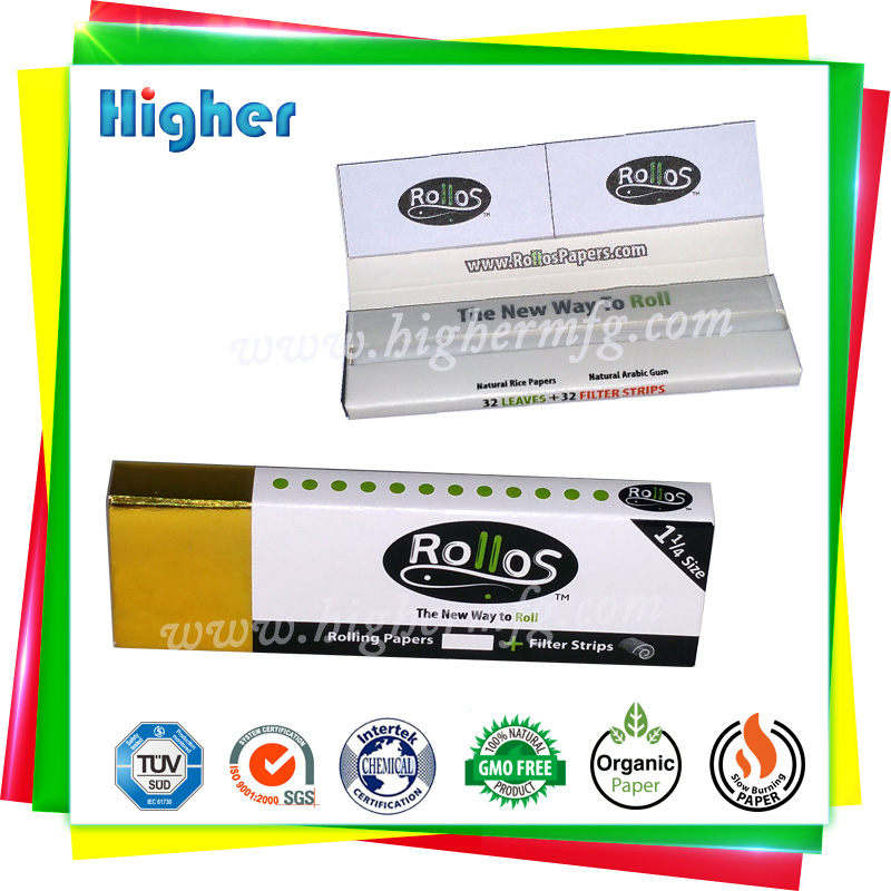 Custom 1 1/4 size rolling paper with filter tips
