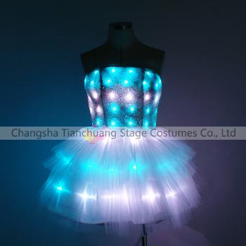 Led Light Up Short Skirt Aerial Hoop Show Dress