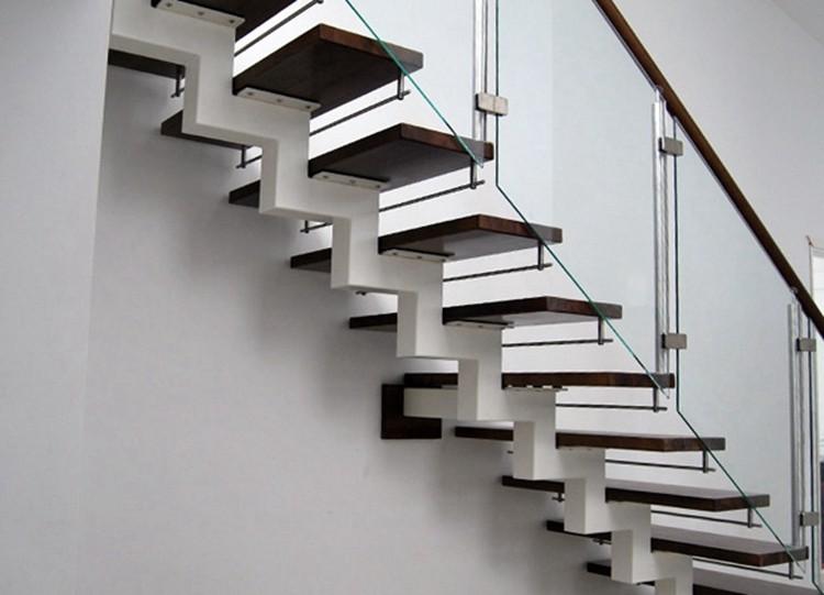 vidrio templado hierro recta de madera de acero escalera recta mejor precio