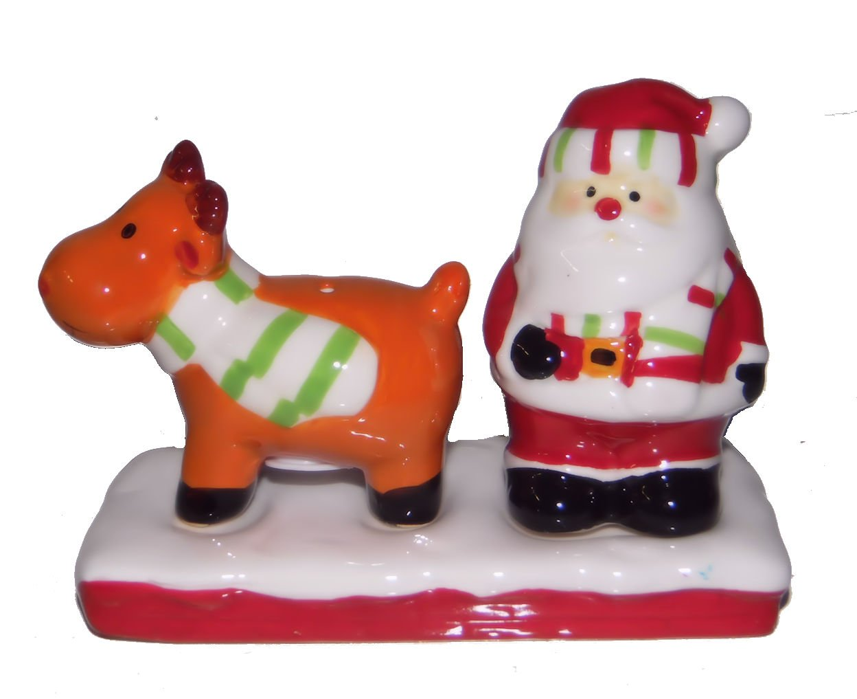 Santa Claus And Reindeer with Base Christmas Holiday Ceramic Salt and Pepper Shaker 3 pc set