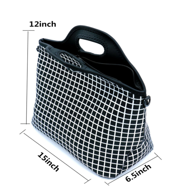Osgoodway Insulated Large Neoprene Reusable Washable Eco Friendly Lunch Box Bag With Shoulder Strap