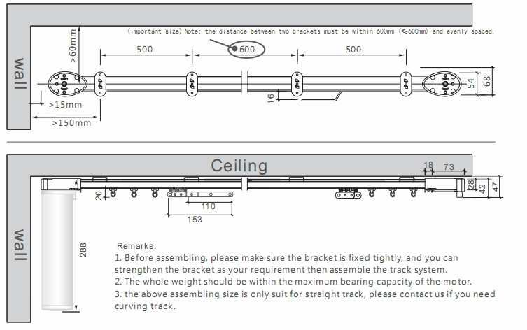 Curtains Ideas bay window curtain pole ceiling fix : Novo Single/double Track Ceiling Mount Shower Curtain Track For ...