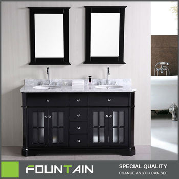 Free Standing Classic Wooden Vanity Set Modern Double Basin Sink Solid Oak  Bathroom Vanity Unit