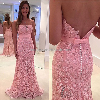 Charming Peach Evening Dresses Lace Mermaid Women Ladies Gowns 2017 Strapless Evening Dress