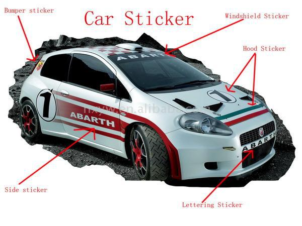 Custom Print Car Sticker Car Body Stickers Pvc Car Sticker