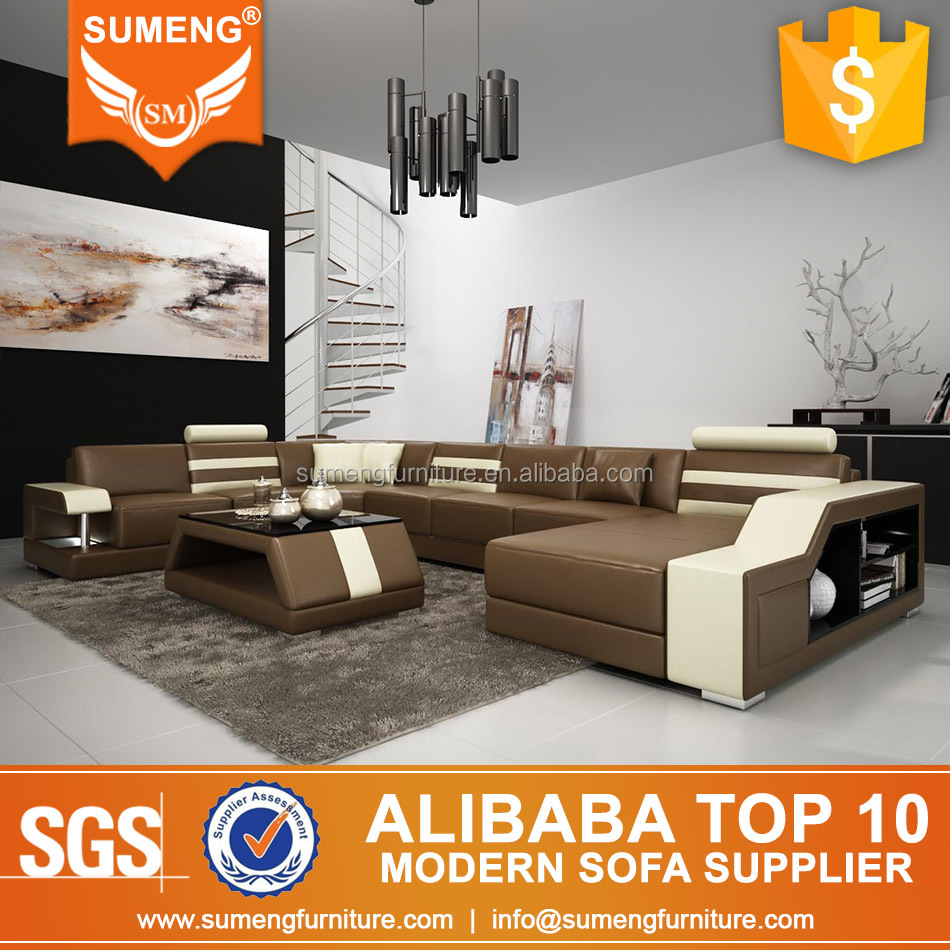 SUMENG egyptian style living room furniture u shape leather couch sofa