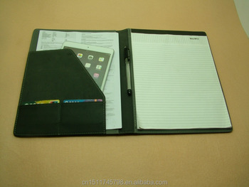 leather professional resume folder with memo pad and brochure pocket